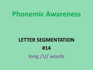 Phonemic  Awareness LETTER SEGMENTATION #14 long /U/ words