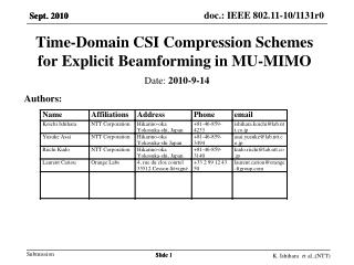 Time-Domain CSI Compression Schemes for Explicit  Beamforming  in MU-MIMO