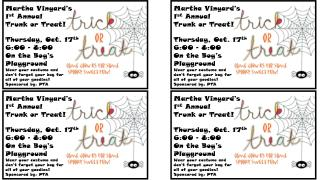 Martha Vinyard's 1 st  Annual Trunk or Treat! Thursday, Oct. 17 th 6:00 – 8:00