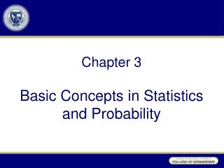 Chapter  3 Basic Concepts in Statistics and Probability