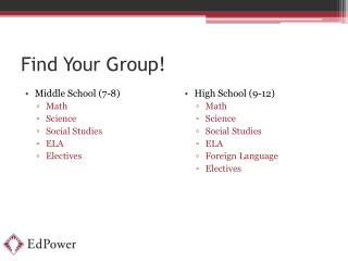 Find Your Group!