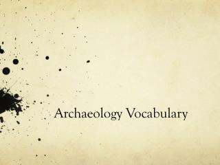 Archaeology Vocabulary