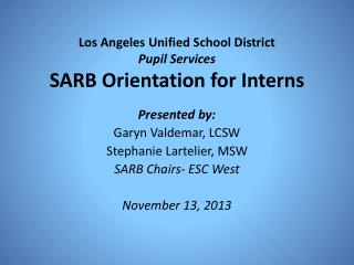 Los Angeles Unified School District Pupil Services SARB Orientation for Interns