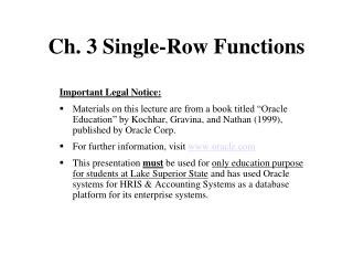 Ch. 3 Single-Row Functions