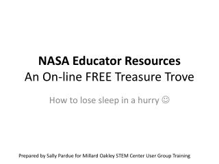 NASA Educator Resources An On-line FREE Treasure Trove