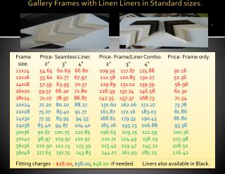 Gallery Frames with Linen Liners in Standard sizes..