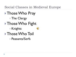 Social Classes in Medieval Europe