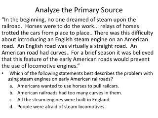 Analyze the Primary Source