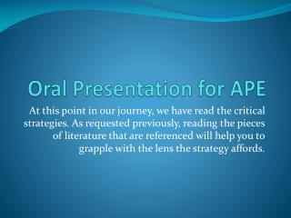 Oral Presentation for APE