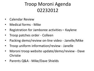 Troop Moroni Agenda 02232012