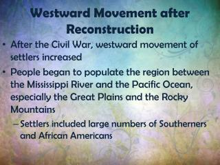 Westward Movement after Reconstruction