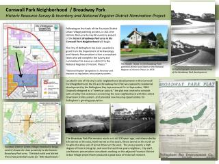 Early photographs and promotional map of the Broadway Park development.
