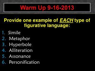 Warm Up  9-16-2013