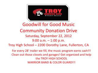 Goodwill for Good Music Community Donation Drive Saturday, September 22, 2012