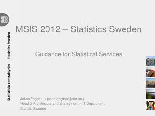 MSIS 2012 – Statistics Sweden