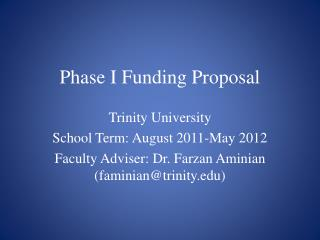 Phase I Funding Proposal