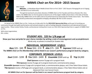WBMS  Choir on Fire 2014– 2015  Season