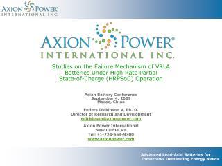 Advanced Lead-Acid Batteries for Tomorrows Demanding Energy Needs