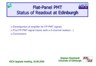 Flat-Panel PMT Status of Readout at Edinburgh