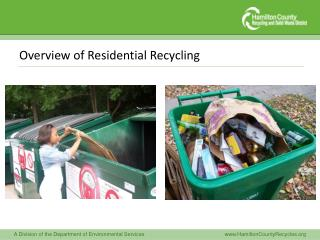 Overview of Residential Recycling