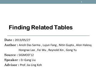 Date  : 2013/05/27 Author : Anish  Das  Sarma  ,  Lujun  Fang ,  Nitin  Gupta ,  Alon  Halevy,
