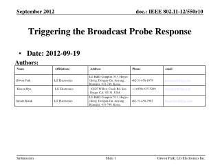 Triggering the Broadcast Probe Response