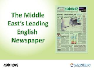 The Middle East's Leading English  Newspaper