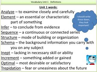 Vocabulary Unit 1	Definitions