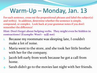 Warm-Up – Monday, Jan. 13