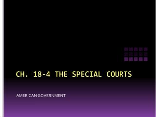 CH. 18-4 THE SPECIAL COURTS