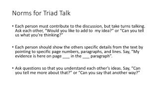 Norms for Triad Talk