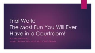 Trial Work:   The Most Fun You Will Ever Have in a Courtroom!