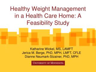 Healthy Weight Management in a Health Care Home: A Feasibility Study