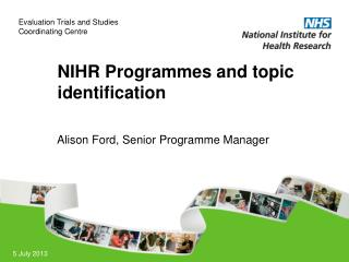 NIHR Programmes and topic identification