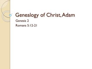 Genealogy of Christ, Adam