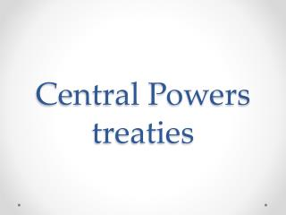 Central Powers treaties