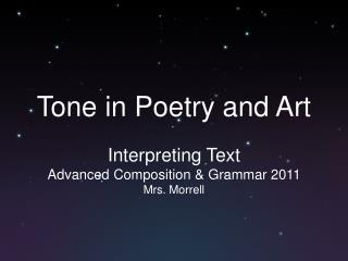 Tone in Poetry and Art
