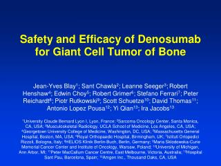 Safety and Efficacy of Denosumab for Giant Cell Tumor of Bone