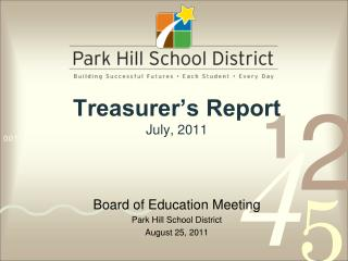 Treasurer's Report July, 2011