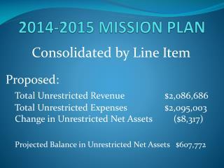 2014-2015 MISSION PLAN