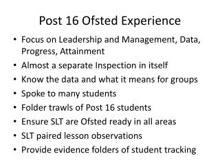 Post 16 Ofsted Experience