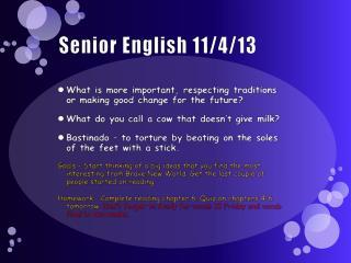 Senior English 11/4/13