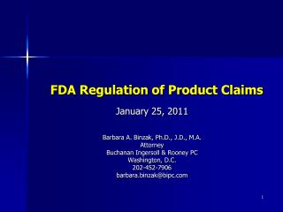 FDA Regulation of Product Claims