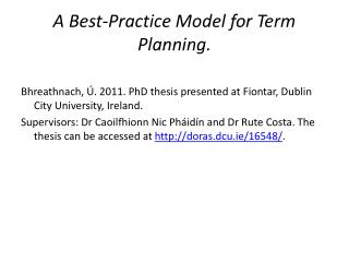 A  Best-Practice Model for Term  Planning .