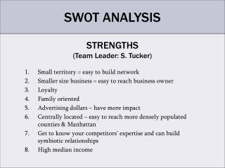 STRENGTHS Team Leader: S. Tucker