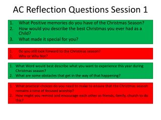 AC Reflection Questions Session 1