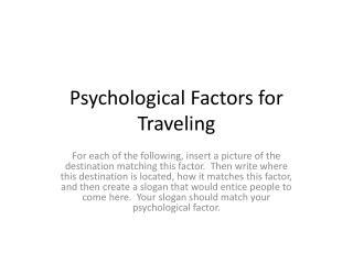 Psychological Factors for Traveling