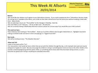 This Week At  Allsorts 20 / 01/2014