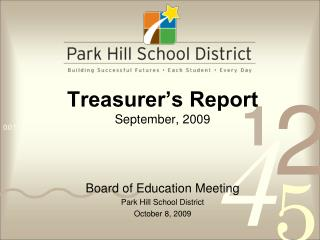 Treasurer's Report September, 2009