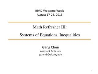 Math Refresher III: Systems of Equations, Inequalities